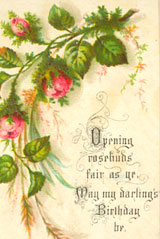 Opening rosebuds fair as ye, May my darling's Birthday be. Happy Birthday, Darling.