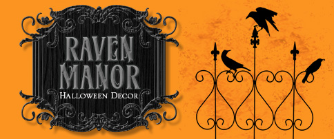 Raven Manor Halloween Decor and Raven Fence