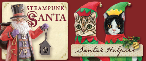 Steampunk Santa and Santas Helpers Cats