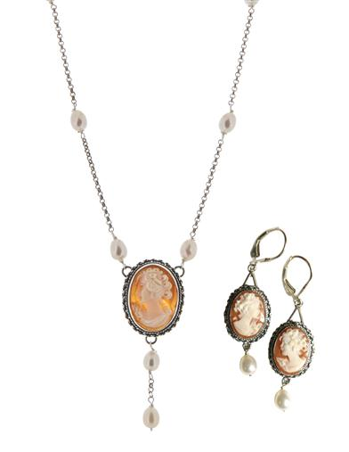 Victorian Jewelry Rings, Earrings, Necklaces, Hair Jewelry Cameo Y Necklace  Earrings Set $229.95 AT vintagedancer.com