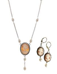 "Cameo ""Y"" Necklace & Earrings (Set)"