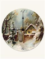 SNOWBOUND COTTAGE CLOCK