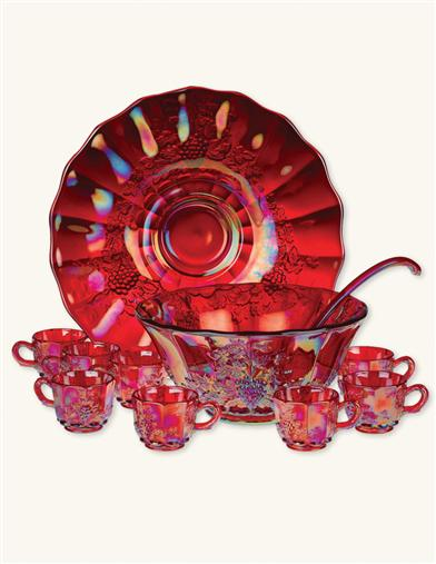 RUBYWARE PUNCH BOWL SET