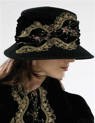 Edwardian Style Hats, Titanic Hats, Derby Hats Louise Green Embroidered Velvet Fedora $249.95 AT vintagedancer.com