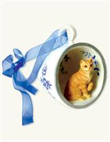 FAVORITE CAT BREED TEACUP ORNAMENT (BLUE)