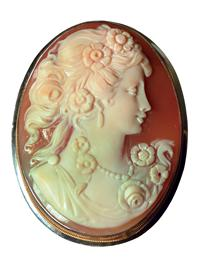 FLORA CAMEO BROOCH (STERLING SILVER)