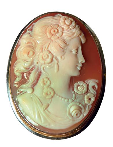 Vintage Style Jewelry, Retro Jewelry Flora Cameo Brooch 14 Kt Gold $899.95 AT vintagedancer.com