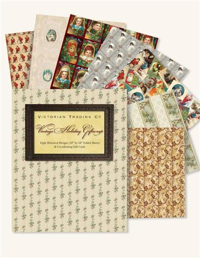 Vintage Holiday Giftwrap (8 Sheets)