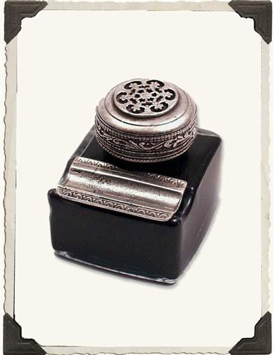 ORNATE INKWELL AND PEN REST