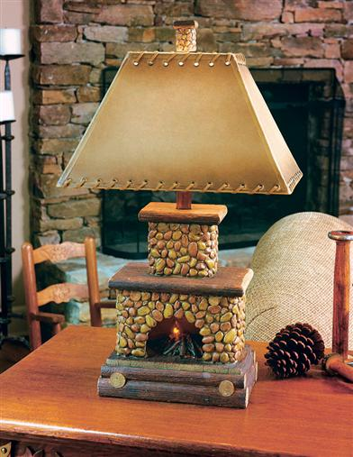 STONE FIREPLACE LAMP