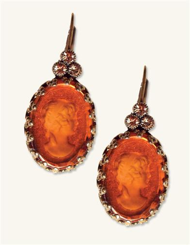 AMBER INTAGLIO GLASS EARRINGS