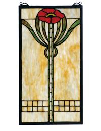 ARTS & CRAFTS POPPY LEADED GLASS PANEL