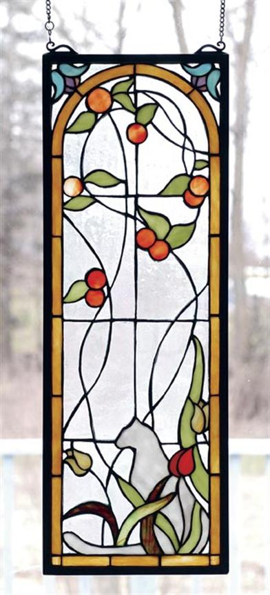 KITTY IN THE GARDEN LEADED GLASS PANEL