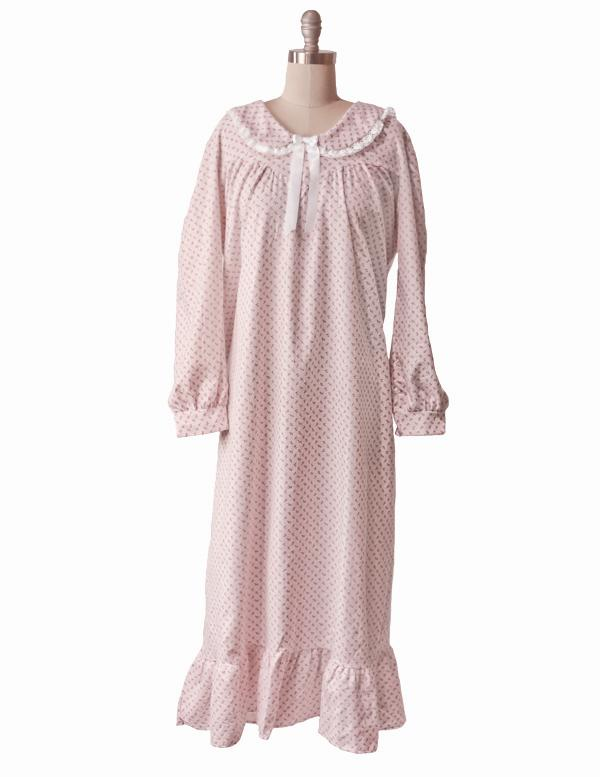 ROSEBUD FLANNEL NIGHTIE - Pink Floral Nightgown