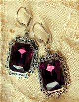 FAUX AMETHYST JEWEL EARRINGS