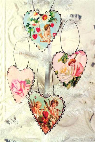 WATERCOLOUR ROSES TIN HEART ORNAMENTS (SET OF 4)