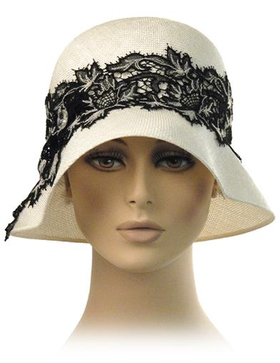 1920s Style Hats Louise Green Chantilly Lace Cloche $229.95 AT vintagedancer.com