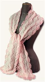 PINK & IVORY KNITTED POINTELLE SCARF