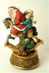 SANTA AND WILLIAM ROCKING HORSE MUSIC BOX