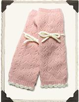 FINGERLESS GLOVES (IVORY & PINK)