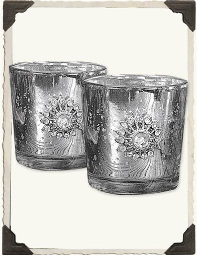 MERCURY VOTIVE CUPS (BEJEWELED-PAIR)