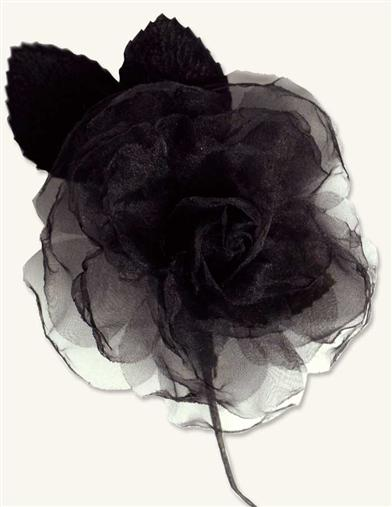 Victorian Style Hats, Bonnets, Caps, Patterns MillinerS Blooms Black Organza Rose $14.95 AT vintagedancer.com