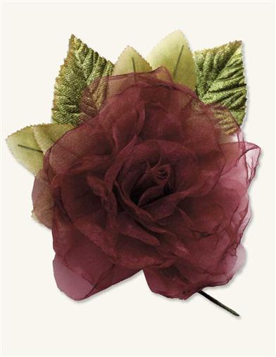 Victorian Style Hats, Bonnets, Caps, Patterns MillinerS Blooms Burgundy Organza $14.95 AT vintagedancer.com