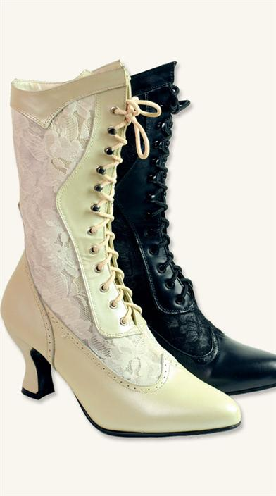 Steampunk Boots & Shoes, Heels & Flats Leather  Lace High Tops $129.95 AT vintagedancer.com