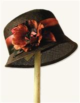 CHOCOLATE POPPY STRAW BONNET