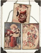 CHRISTMAS IMAGES UNDER GLASS (SET OF 3)