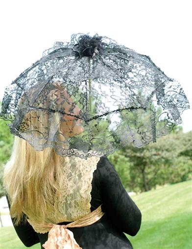 Vintage Style Parasols and Umbrellas Black Lace Parasol $19.95 AT vintagedancer.com