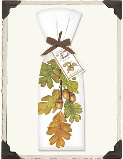 ACORN AND LEAVES FLOUR SACK TOWELS