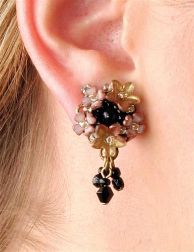COLLEEN TOLAND VELVET ZINNIA  EARRINGS