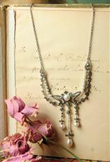 VICTORIA REGINA MARCASITE AND PEARL NECKLACE