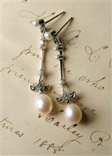 VICTORIA REGINA MARCASITE AND PEARL EARRINGS
