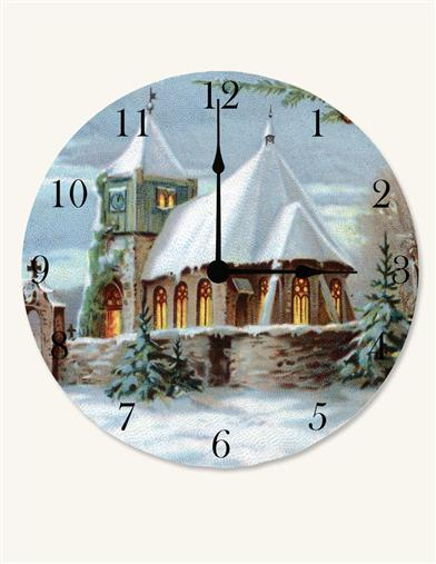 SNOWY CHURCH CLOCK