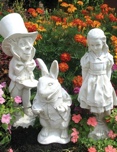 Alice In Wonderland Statue Set (White Finish)