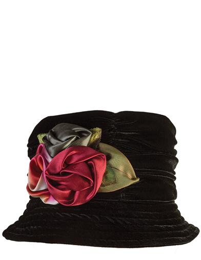 Edwardian Style Hats, Titanic Hats, Derby Hats Silk Roses Velvet Hat $49.95 AT vintagedancer.com
