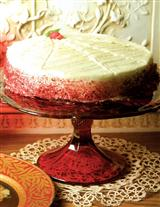 RED THISTLE CAKE PLATE