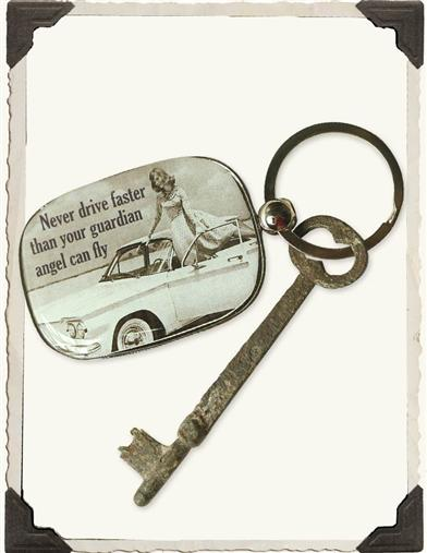 NEVER DRIVE FASTER KEYCHAIN