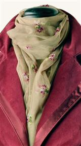 Embroidered Floral Mesh Scarf