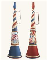 RED, WHITE & BLOW TIN HORNS (PAIR)