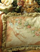 HEAVEN'S TWINS NEEDLEPOINT SOFA PILLOW
