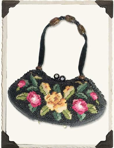 NEEDLEPOINT PURSE (BLACK)