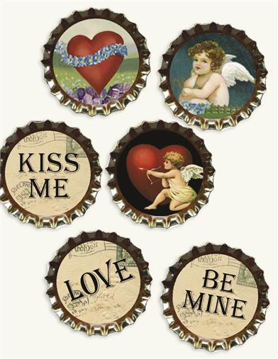 'SODA BOTTLE CAPS' VALENTINE LAPEL PINS