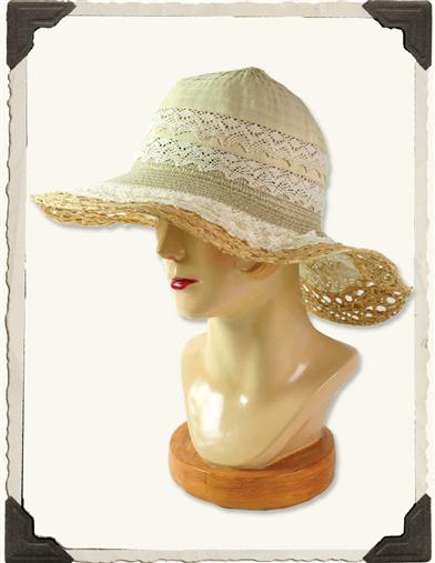 PACKABLE LACE HAT (NATURAL)