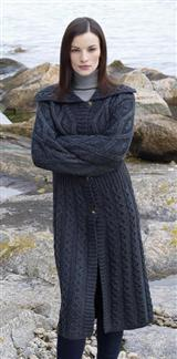 ARAN ISLAND BLACK SHEEP LONG CABLE COAT