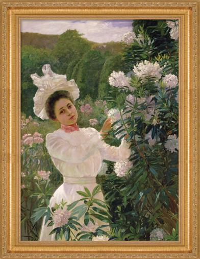 GIRL WITH RHODODENDRONS FRAMED PRINT