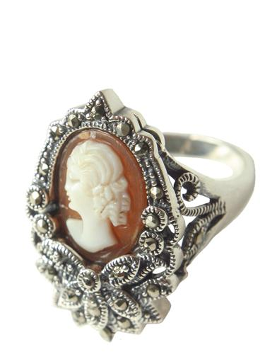 Victorian Jewelry Rings, Earrings, Necklaces, Hair Jewelry Marcasite  Cameo Ring $89.95 AT vintagedancer.com
