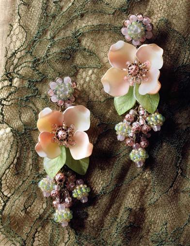 HAWTHORN ROSE FLORAL BEADED EARRINGS